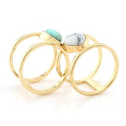 Wholesale Turquoise Stone Wedding Ring - Fashion Bohemia Alloy Gold Plated multilayer Personality triangle Natural White Green Turquoise stone Ring exaggeration Jewelry for women