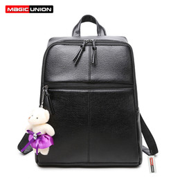 Wholesale dolls for cell phones - Wholesale- MAGIC UNION 2016 New Casual Girls Backpack PU Leather Fashion Women Backpack School Travel Bag With Bear Doll For Teenagers Girl