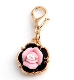 Wholesale Rose Gold Floating Locket Wholesale - 20pcs lot Rose Flower Floating Pendant Charms With Lobster Clasp Fit For Chain Locket Necklace Bracelet Making