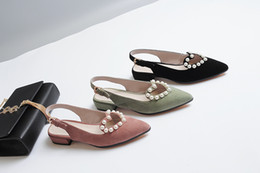 Wholesale Closed Toe Slingbacks - New Arrival Hollow Heart With Pearl Decoration Flat Shoes Slingback Buckled Casual Shoes Woman Sexy Pointed Toe Mary Janes