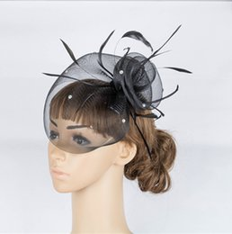 Wholesale White Feather Fascinator Wholesale - Free Shipping Hot Sale black Birdcage Net Wedding& Events Bridal Fascinator Hats Face Veil Feather black Flower for party accessories MYQ043