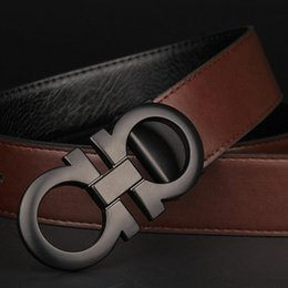 Wholesale Top Quality Leather Belts - 2017 New Top feragamo belt designer belts men high quality genuine leather luxury smooth big buckles 105-125CM belt for men Free shipping