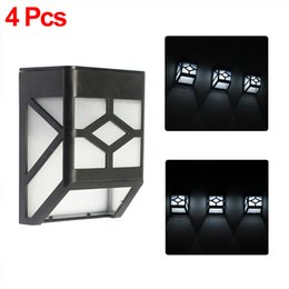 wholesale 4x solar powered wall mount 2leds lantern led solar light outdoor landscape garden light
