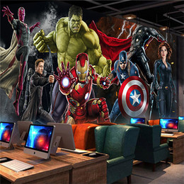 Wholesale wall paper kids room - Avengers Photo wallpaper Custom 3D wallpaper for walls Hulk Iron man Captain America Wall mural Boys Bedroom Living room Restaurant Designer