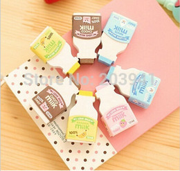 Wholesale Erasers Bottle - Wholesale-2 pieces   lot Fresh Milk bottle design eraser funny eraser nice gift No.0121