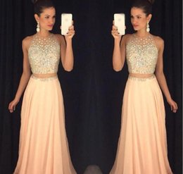 Wholesale Evening Dess - Elegant Two Piece Major Beading 2017 Prom Dess New Arrival Chiffon Formal Evening dresses Occasion Gown Party Dresses