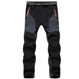 Wholesale Thick Waterproof Trousers - Winter Men Outdoor Hiking Fleece Camping Pants Waterproof Windbreaker Thick Warm Trousers Male Inner Fleece Softshell Pant M001