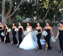 Vestidos negros para bodas invitados online-Estilo simple vestidos de dama de honor negros largos 2017 Lycra sexy dividir medio vestido de noche vaina sin respaldo formal bodas vestido de huésped