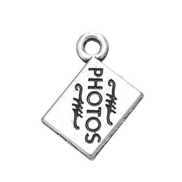 Wholesale photo engravings - Lead and Nickel Free Metal Engraved Letter Photos Charm DIY Finding Jewelry Wholesale