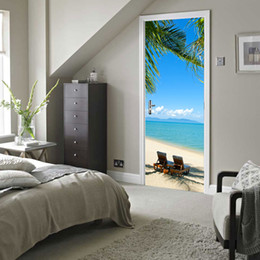 Wholesale Custom Paint Design - Custom Photo Wallpaper Murals 3D DIY Blue Sky White Clouds Beach Coconut Trees Wall Painting PVC Door Mural Sticker Home Decor