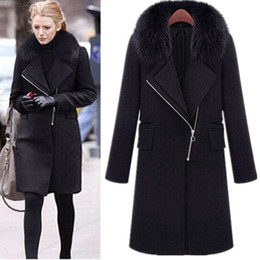 Wholesale Trench Coat Women Basic - Fashion Wool Collar Outerwears Design Brand Ladies Trench Coat Casual Splicing Black Belt Women Basic Coats Winter 2016 Large Size 3XL