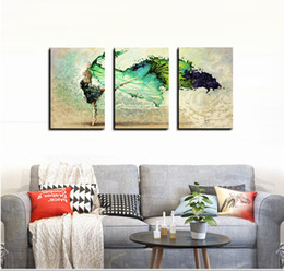 Wholesale Modern Dance Oil Painting - Blue Skirt Dancer Butterfly Dance Modern Abstract Oil Painting on Canvas Wall Art for Home Decoration No Frame JYJ ART