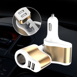 Wholesale 12v Output Car Cigarette Lighter - Universal Auto 3.1A Dual USB Car Charger For iPad iPhone Samsung One Way 12V-24V Car Cigarette Lighter Socket Adapter Charger