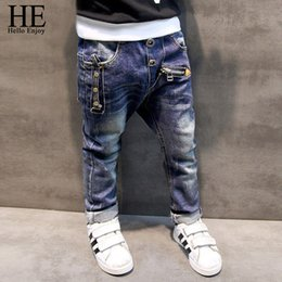 Wholesale Trousers For Kids - HE Hello Enjoy Boys pants jeans 2017 Fashion Boys Jeans for Spring Fall Children's Denim Trousers Kids Dark Blue Designed Pants