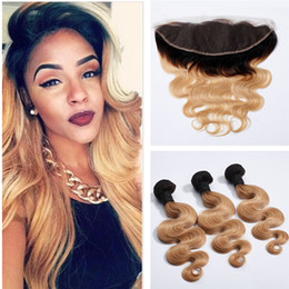 Wholesale Closure Colored - Two Tone Colored 1b 27 Strawberry Blonde Hair With Lace Frontal Closure Honey Blonde Body Wave Ear To Ear Lace Frontal With Bundles