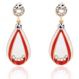 Wholesale Drip Needle - S925 silver needle red and white drip oil water droplets shape individual ear nail inlaid diamond double color accessories earrings