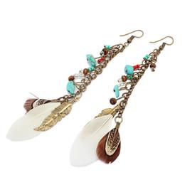 Wholesale Long Stone Drop Earrings - new Bohemia style leather feather long drop earrings blue stone ethnic vintage gold earrings of women jewelry Bijoux
