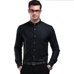 Vestido longo para a cor do partido branco on-line-Gola mandarim estilo chinês camisa branca dos homens do noivo de manga comprida camisa cor pura de alta qualidade de negócios casual entrevista vestido de festa camisa