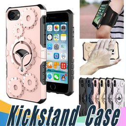 Wholesale Multifunctional Cases - Armor Multifunctional Case Metal Rotatable Kickstand Cover with Armband For iPhone X 8 7 6 6S Plus 5 5S S Sumsung S7 S8 Plus Edge Note8