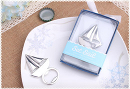 Wholesale Wholesale Sail Boats - Sailing Boat Bottle Opener Silver Beer Openers Bar Tools Party Wine Accessories Wedding Favors Gift Box Packing