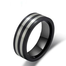 Wholesale Wholesale Tungsten Wedding Bands Usa - USA Flat black tungsten carbide ring with two lines laser engraving Fashion and Hot sales Jewelry Finger ring for men and women black plated