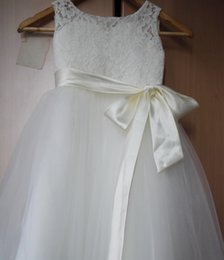 Wholesale 2t Robe - Flower Girl Dresses A-Line Long Lace Party Dress For Girls 2-14 Years Robe Fille Lace Tulle White Flower Girl Dresses For Wedding
