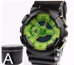Wholesale Gift Boxes For Belts - GA110+G box relogio men's sports watches, LED chronograph wristwatch, military watch, digital watch, good gift for men & boy, dropship GG