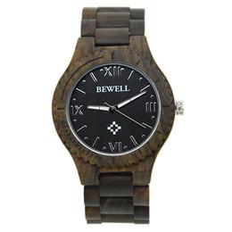 Wholesale Custom Digital Watch - Luxury Luminous Quartz-Battery Fashion Wrist Watch Handmade Black Sandalwood with Custom Logo Bewell W065A for sale
