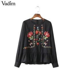 Wholesale Vintage Ruffled White Blouse - Women vintage flower embroidery full cotton shirts long sleeve ruffles pleated o neck blouse ladies casual tops blusas LT1400