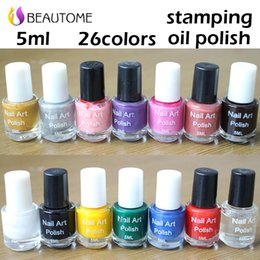 Wholesale Nail Stamping Polish Black - Wholesale-Stamp polish 1 Bottle LOT Nail Polish & stamp polish nail art 26 color Optional 5ml More engaging 4 Seasons color 8-color 26 .!