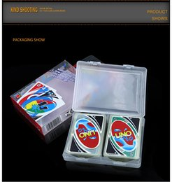 Wholesale fun entertainment - Stock hight quality UNO poker card Crystal PVC waterproof standard edition family fun entertainment board game Kids funny Puzzle game DHL