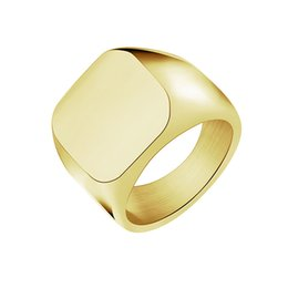 Wholesale 18k Gold Plated Ring Mens - Wholesale 10Pcs lot 2017 New Arrival Fashion Biker Rings Titanium Steel Jewelry Gold Filled Square Signet Mens Rings Wedding Rings