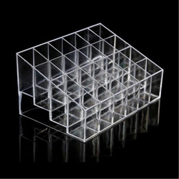Wholesale clear cosmetic makeup organizer box - 24 Lipstick Holder Display Stand Clear Acrylic Cosmetic Bags Organizer Makeup Case Sundry Storage makeup organizer organizer Display Box#004