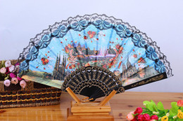 Wholesale Wholesale Spanish Fabric - Spanish Women Painted Floral People Scenery Silk Cloth Folding Hand Fan For Dancing Home Office Wall DIY Decoration) Assorted Color Size 9 ""