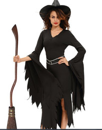 Wholesale Two Piece Halloween Costumes Women - Halloween Women Costumes Witch Dress Two Pieces New Black Color V-neck Long Sleeve With A Belt Witch Stage Costumes Fancy Dress UP Costume