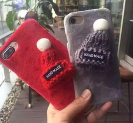 Wholesale Knitted Apple Hats - 3D Fashion Handmade Plush Hat Cover For iPhone 7 Plus 6 6s Plus Cute Knitted Gift Phone Back Cases For iPhone7 Case Christmas