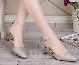 Wholesale European Heels - Fashion silver word buckle with sandals female summer new European and American women's shoes pointed fine with high heels