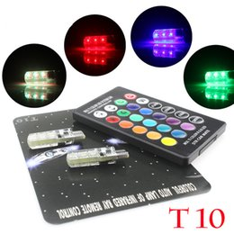 Discount smd led car auto - 50 sets 5050 SMD RGB LED CANBUS T10 W5W 194 168 LED Demo Lamp Bulb Auto Car Wedge Side Light Multi Color With Remote Controller Strobe set