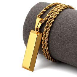 Wholesale Cube Link - NYUK Cube Bar Bullion Halskette & Anhänger Gold Star Männer Hüfte Hop Dance Charme Franco Verdrehte Kette Hip Hop Goldene Schmuck Für gesche