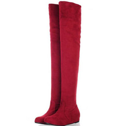 Wholesale Red Platform Wedge Boots - Wholesale-LapoLaka Big size 34-43 Sexy Over The Knee Thigh High Boots Women Hidden Wedges Platform Shoes Wild Leopard Knight Woman Boots