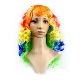 Wholesale Long Rainbow Wigs - Rainbow Synthetic Wigs Harajuku Multi-Color Cosplay Hair Long Wavy Wigs For Women