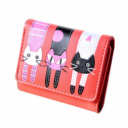 Wholesale cute lovely photos - Wholesale- Lovely cute cat wallet small zipper coin purse fashion new girl wallet with card holders short pattern designed women wallet