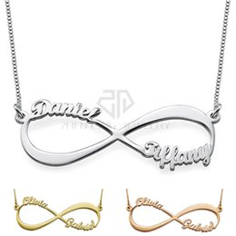 Wholesale Infinity Necklaces For Women - Infinity Style Two Name Necklace Custom Made Stainless Steel Personalized Nameplate Pendant Gift Jewelry for Women