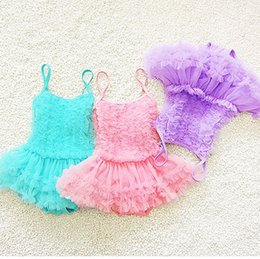Wholesale Princess Swim - 2017 Baby bathing suits swimwear two-pieces Kids Swimsuits princess pleated Sweet swimsuit 5 colors beach Pink purple Free DHL