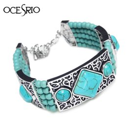 Wholesale Carved Stone Beads Wholesale - Wholesale-Retro Jewelry Tibetan Silver Bracelet Turquoise Inlay Round Bead Adjustable Bangle Carved Layer Stone Charm Bracelets brt-j64