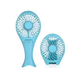 Wholesale small plastic gears - Portable Handheld Mermaid Fans Rechargeable Air Conditioner USB Cooler Fan 1500mAH Air Conditioning Foldable Ventilador Small Fans