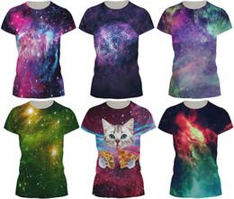 Wholesale galaxy print t shirts - 2017 Fashion Women T-shirt 3D Galaxy Print Summer Cool t shirt Street Wear Tops Tees O-neck Plus size