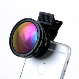 Wholesale 37mm Wide - Mobile Phone Lenses Turata Universal 2 in 1 0.45X Wide Angle + 12.5X Macro With Clip 37mm HD Camera Lens Kit For iPhone Samsung