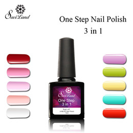 Wholesale One Step Gel Nails - Wholesale-Saviland 1pcs One Step Three In One 10ml UV Gel Soak Off Varnish Vernis Permanent No Primer Gel Nail Polish 3 In 1