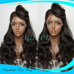 Wholesale Thick Lace Front - Long Body Wave Natural Black Synthetic Lace Front Wig With Baby Hair Thick Full Head Heat Resistant Synthetic Wigs In Stock